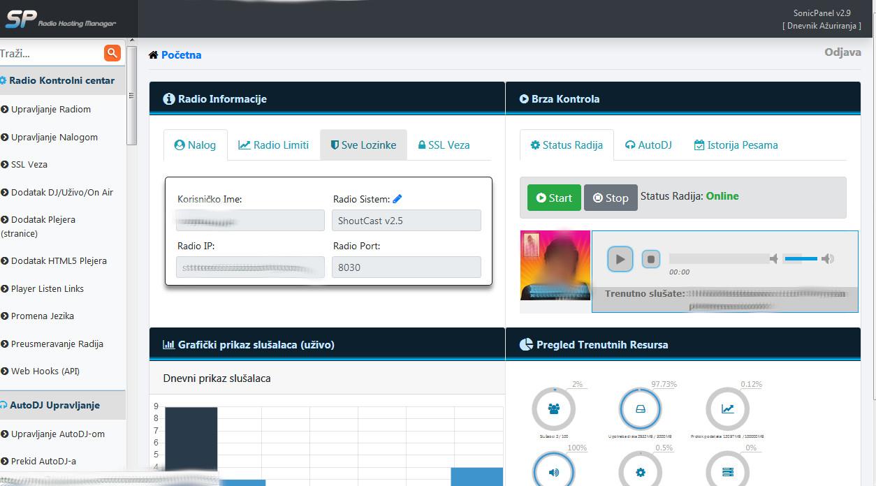 SonicPanel besplatan radio streaming hosting